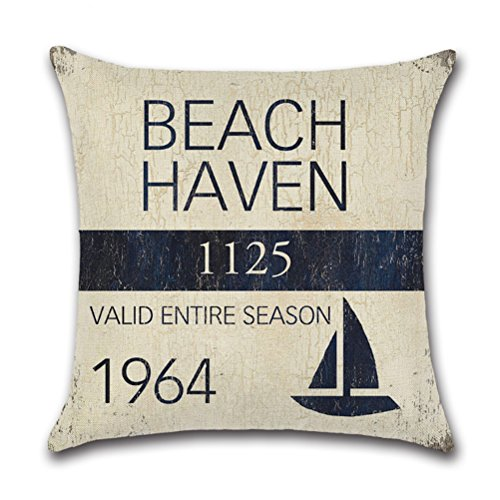 Vintage Series Throw Pillow Case U-LOVE Beach Cushion Cover for 18 X 18 Inch Pillow Inserts,4 pack