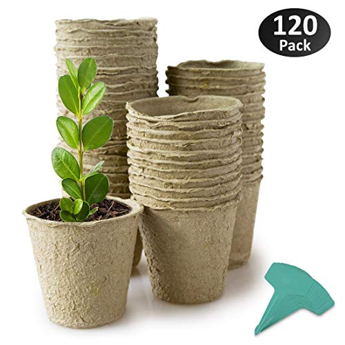 GROWNEER 120 Packs 3 Inch Peat Pots Plant Starters for Seedling, Biodegradable Herb Seed Starter Pots Kit, Garden Germination Nursery Pots with 15 Pcs Plant Labels