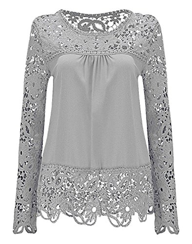 US&R Women's Polyester Full Sleeve Floral Lace Cutouts Scalloped Edges Blouse, White XS,Manufacturer(S) by US&R