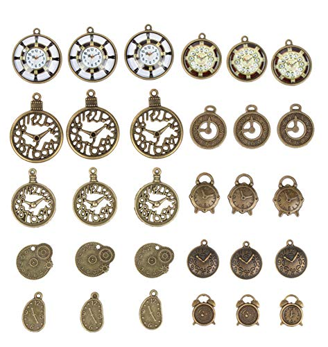 Clock Charms - 30-Piece Mixed Watch Steampunk Clock Face Gear Charms, Antique Pendants, Alloy Charms, Perfect for Accessories Keychains Bracelets Necklaces DIY, Jewelry Making, Craft, Assorted Design]()