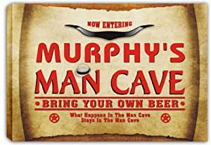 scpb1-1059 MURPHY'S Man Cave Cowboys Beer Bar Stretched Canvas Print Sign
