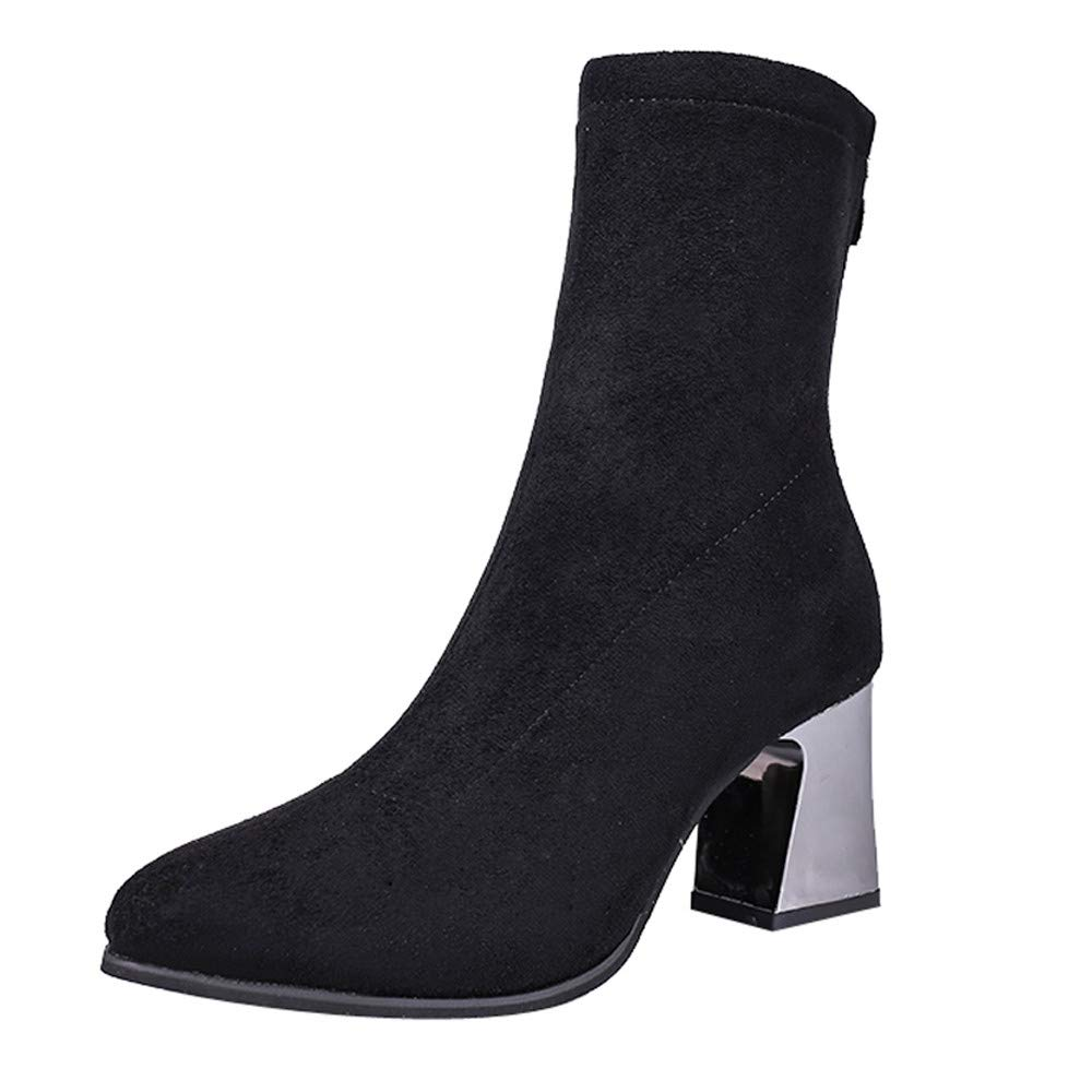Elegant Women High Heel Shoes Suede Solid Color Pointed Toe Zipper Martin Boots (Black, Tag Size 35=US:5.5) by Dacawin_Women Boots