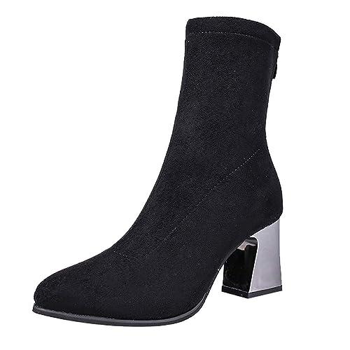 Zapatos de tacón Mujer, Amlaiworld Botas de Cuero de Gamuza sólidas para Mujer Zapatos de Cremallera Punta Estrecha Zapatos de Vestir Botines De Otoño ...