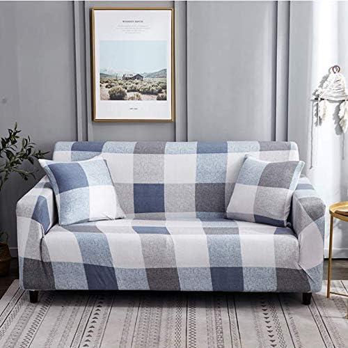 RKZM Blanco Azul a Cuadros Colores Sofá Funda de algodón elástico ...