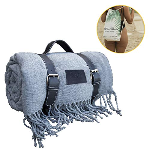 (Beautiful Soft Picnic Blanket, Beach mat, Extra Large, Folding, Travel, Waterproof, Outdoor, Carry Tote, Camping, Stadium )