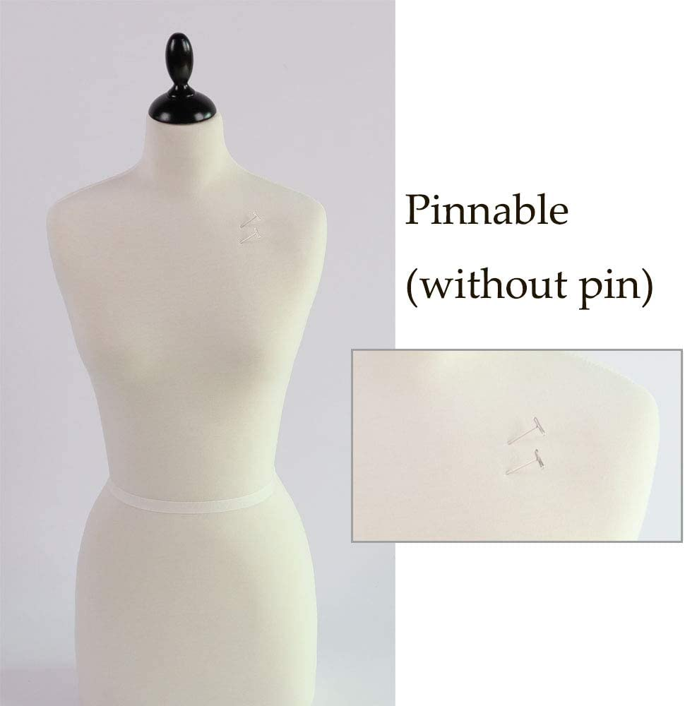 Dress PDM Worldwide Female Mannequin Torso Pinnable Dress Form with Wooden Tripod Stand Adjustable Height 65-82 for Sewing Body Display 10, Beige Clothing