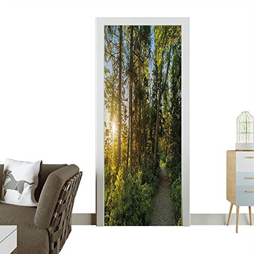 3D Photo Door Murals Park in Cape Breton Highlands Canada Forest Path Trees Tranquility Photo Blue Green Easy to Clean and applyW23.6 x H78.7 INCH