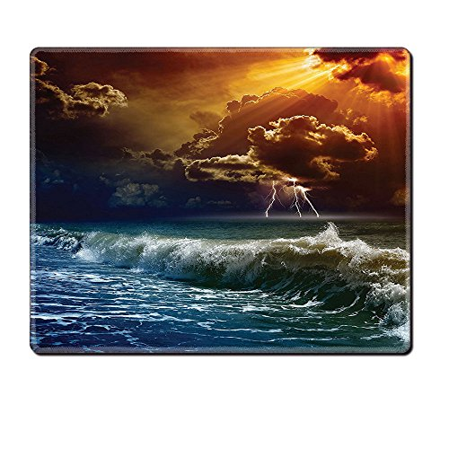 Mouse Pad Unique Custom Printed Mousepad Lake House Decor Thunderstorm Rays Over The Ocean Waves Wild Forces Burnt Fire In The Air Decorative Blue Orange Stitched Edge Non Slip Rubber