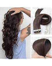 "SHOWJARLLY 16"" Remy Tape in Hair Extensions Human Hair 20Pcs/Set #2 Dark Brown Seamless Tape in Skin Weft Human Hair Extensions 30g"