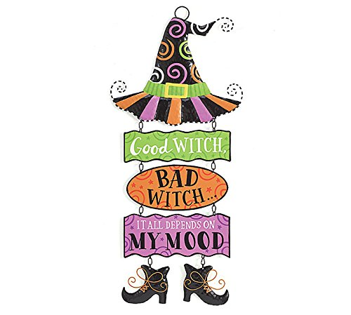 Good Witch Bad Witch Tin Hanging Wall (Bad Witch Tin Sign)