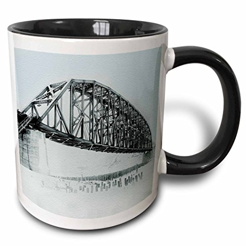 3dRose Sandy Mertens Alaska - Mears Memorial Bridge at Tanana River, Nenana, Alaska Photo June 1923-15oz Two-Tone Black Mug ()
