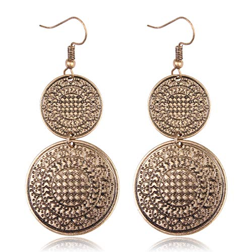RIAH FASHION Bohemian Vintage Coin Mandala Circle Drop Earrings - Moroccan Ethnic Hook Dangles Round Metallic Disc/Aztec Shield Chandelier Tassel (Circle - Gold) ()