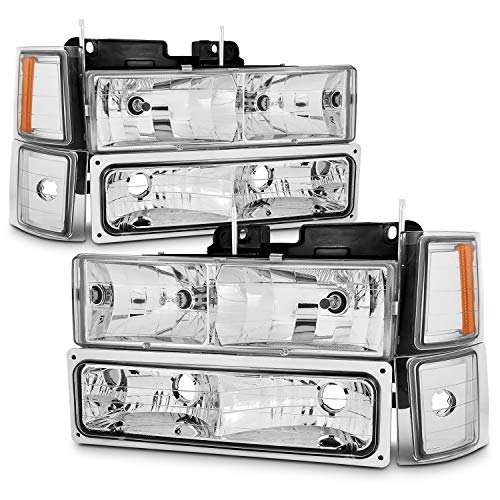 (For 94-98 Chevy C/K 1500/2500/3500 Tahoe Suburban Full Size C10 Chrome Headlights Driver+Passenger Headlamp)