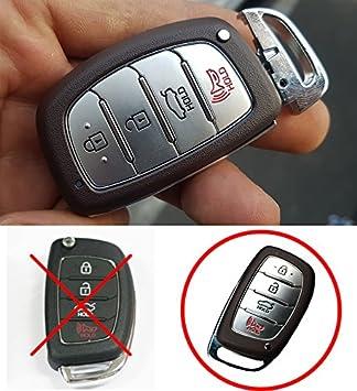 LIGHTKOREA 4 Button Smart Key Chain Silicone Case Cover for Hyundai Elantra 2017 2018 AD Black