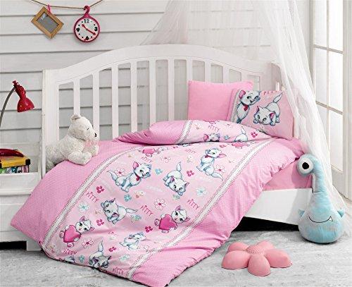 (LaModaHome Animals Baby Bedding Set, 100% Cotton - Little Kitty Says Meow, Kitten - Set of 5 - Comforter, Duvet Cover, Flat Sheet and 2 Pillowcases for Baby, Toddler)