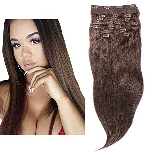 0154 Natural - YONNA Remy Human Hair Clip in Extensions Medium Brown #4 Double Weft Long Soft Straight 10 Pieces Thick to Ends Full Head 24inch 220g