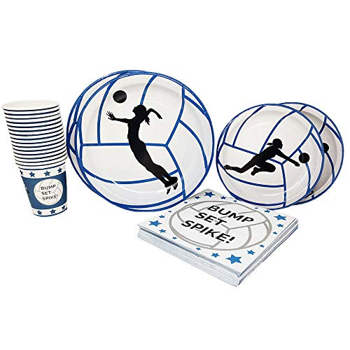Volleyball Party Supplies (65+ Pieces for 16 Guests!), Volleyball Birthday Party Pack, Sports Tableware and Party -