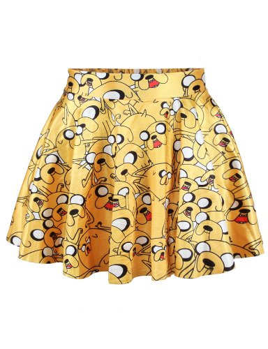 LaSuiveur Womens Jake The Dog Digital Print Stretchy Flared Pleated Casual Mini Skirt -