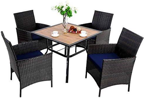 PHI VILLA 5 Piece Patio Dining Table Set