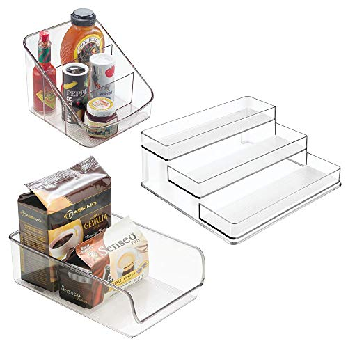 mDesign Plastic Kitchen Storage Organizer Bin Combo for Pantry, Cabinet, Refrigerator, Freezer - Separated and Holds Spices, Pasta, Seasoning Packets, Sauces, Snacks - Set of 3 - Clear