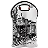 TRUSTINEEB Rustic Old Train in Country Insulated Wine Tote Bag Travel Padded 2 Bottle Wine/Champagne Cooler Carrier with Handle and Shoulder Strap/Red Wine Sets/Water Bottle Tote