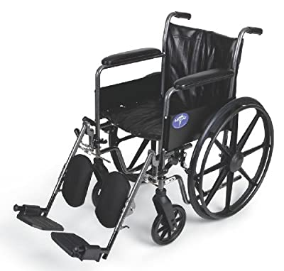 "Medline Easy-to-Clean and Durable Wheelchair with Full-Length Arms and Elevating Leg Rests for Extra Comfort, 18"" Seat"