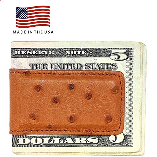 Cognac Genuine Ostrich Magnetic Money Clip - American Factory Direct - Strong Shielded Magnets - Money Holder - Money Holder - Made in USA by Real Leather Creations FBA507