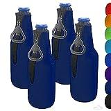 Zipper Beer Bottle Cooler Sleeve with Bottle Opener