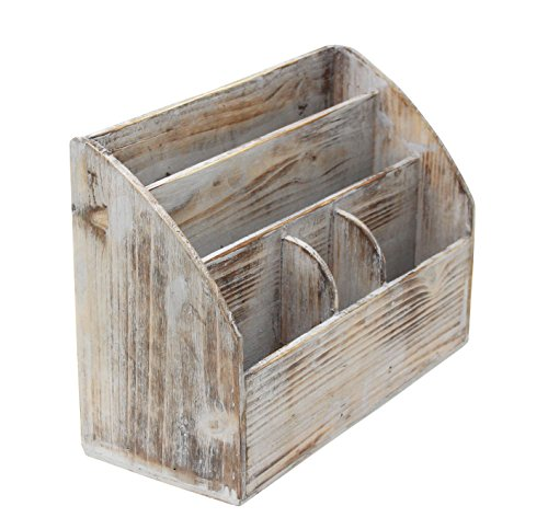 (Vintage Rustic Wooden Office Desk Organizer & Mail Rack for Desktop, Tabletop, or Counter - Distressed Torched Wood – for Office Supplies, Desk Accessories, Mail)