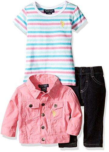 U.S. Polo Assn. Baby Girls' Twill Jacket Striped T-Shirt and Stretch Denim Jean, Pink Lemonade, ()