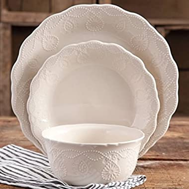 The Pioneer Woman 82782.12R Cowgirl Lace 12-Piece Dinnerware Set, Linen/ Beige