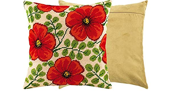 Needlepoint Kit European Quality Printed Tapestry Canvas Throw Pillow 16/×16 Inches Lilies