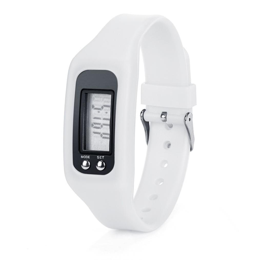 Ama ( TM )デジタルLCD歩数計ウォーキング実行ステップ距離カロリーカウンターFitness Trackerリストバンドブレスレット  ホワイト B01IUSGLU6