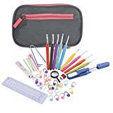 Tmalltide Gray Case Crochet Kit Soft Handle and Aluminum Crochet Hooks Knitting Set