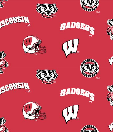 Wisconsin Badgers Cotton Fabric-university of Wisconisin Cotton Fabric By Sykel (Wisconsin Badgers Crystal)