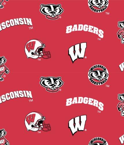 Wisconsin Badgers Cotton Fabric-university of Wisconisin Cotton Fabric By Sykel (Crystal Wisconsin Badgers)