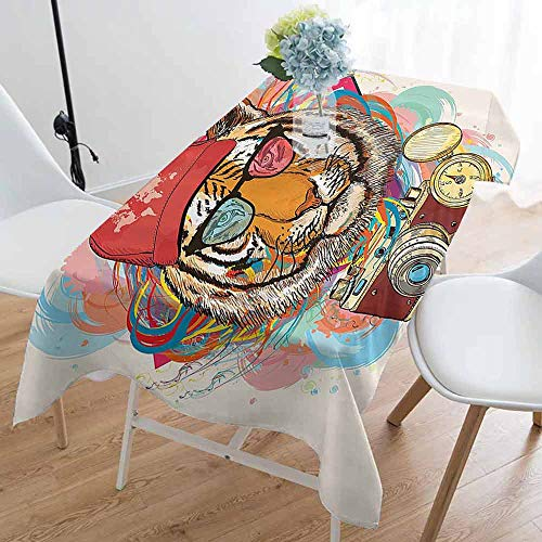 Apartment Decor Rectangular tablecloths in a Variety of Colors and Sizes Hipster Rapper Style Tiger with Sunglasses Hat and Camera Artist Hippie Animal Comic Print Can be Used for Parties ()