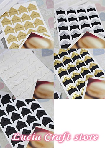 (1 sheet=24 Pcs Corner Stickers) DIY Scrapbooking Photo Album Frame Decoration Stickers (Mix 5 colors 5sheets)