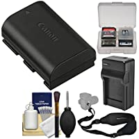 Canon LP-E6N Lithium-ion Rechargeable Battery Pack + Charger + Sling Strap + Kit for EOS 6D, 6D Mark II, 77D, 80D, 7D 5D Mark II III IV, 5DS R