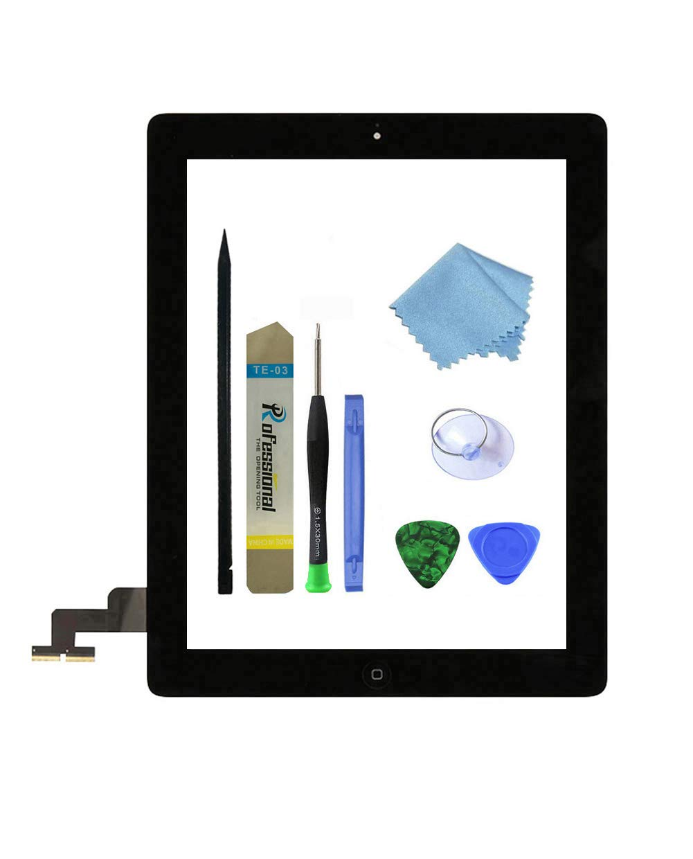 Zentop Black iPad 2 Screen Replacement,iPad 2 (2nd Generation) A1395 A1396 A1397 Touch Screen Glass Digitizer Includes Home Button,Camera Holder,Frame Bezel,Preinstalled Adhesive and tool Kit.