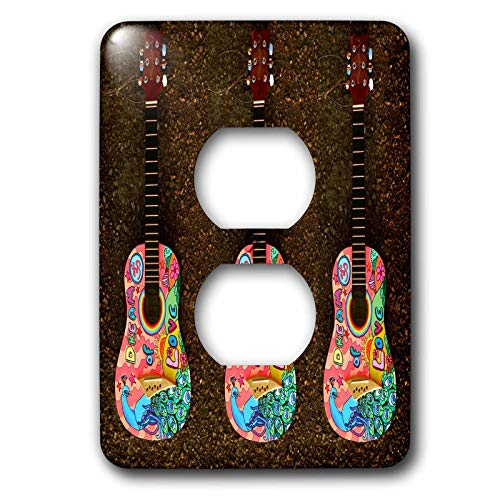 3dRose lens Art by Florene - Musical Art - Image of Three Hippie Guitars With Words Dream Of Love - Light Switch Covers - 2 plug outlet cover (lsp_302831_6)