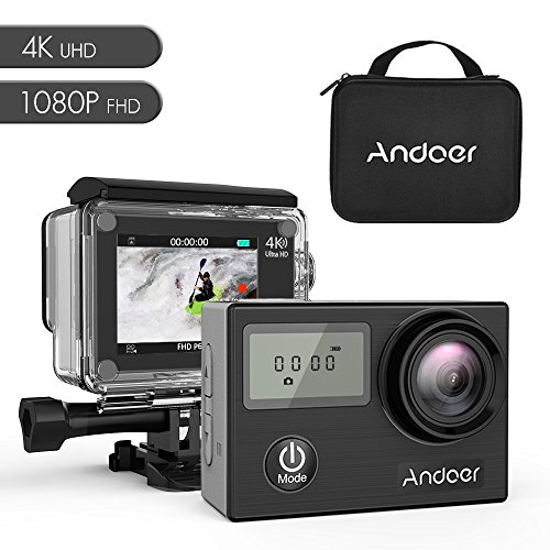 Andoer AN4000 WiFi 4K 30fps 16MP Action Sports Camera 1080P 60fps Full HD 4X Zoom Waterproof 40m 2'' LCD Screen 170° Wide Angle Lens Support Slow Motion Drama Photography with Remote Control (black) by Andoer