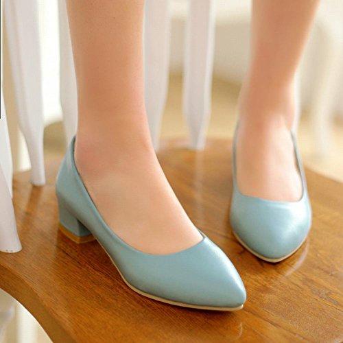 Mee Shoes Damen chunky heels spitz ohne Verschluss Pumps Blau