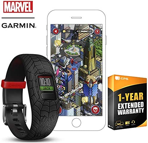 Garmin Vivofit jr. 2 – Stretchy Adjustable Activity Tracker for Kids 1 Year Extended Warranty Spider Man Black