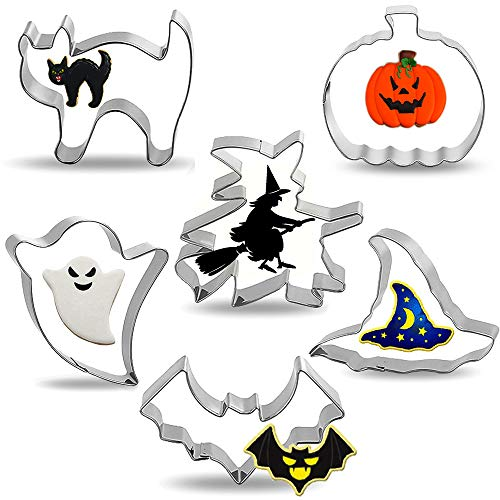 Halloween Cookie Cutters, RichSmile 6PCS Trick or Treat Cookie Cutter, Pumpkin, Witch Hat, Bat, Ghost, Cat and Flying Witch Party Decorations