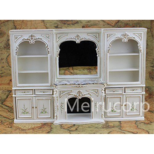 Dollhouse miniature furniture 1/12 scale luxury White hand painted fireplace and wall ()