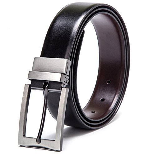 "Men's Dress Belt Genuine Leather Reversible Buckle with 1.25"" Wide Strap - Black/Brown"