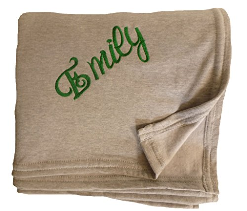Huge Embroidered and Personalized Throw Blanket Made of Cozy Sweatshirt Fabric