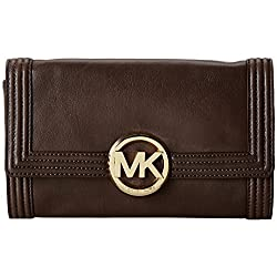 Michael Kors Fulton Bombe Clutch Coffee Brown Leather Shoulder Bag Purse
