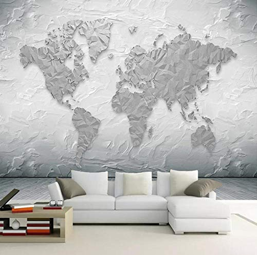 XDRZSE Mural Wallpaper Stone Texture World map Modern Study Living Room TV Background Wall Photo mural-200x160cm